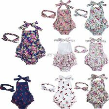 2PCS Baby Girls Halter Backless Bodysuit Jumpsuit Romper Dress Headband Outfit