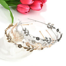 Fashion Women Metal Rhinestone Head Chain Leaves Headband Head Piece Hair band