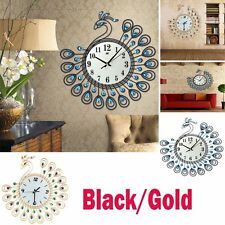 Luxury Peacock Rhinestone Wall Clock Home Decoration Art Digital Modern Style GA