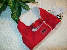 RED QUILTED Shearling Dog Body Harness Vest XS S Pup Crew new puppy pet
