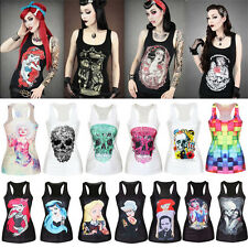 New Punk Gothic Digital Print Tank Top Vest Blouse Women Clubwear Party T-Shirt