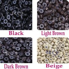 Silicone Micro Rings Link Beads Ring Black 500PCS for Hair Feather Extensions RQ