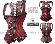 Sexy Women Steampunk Underbust Corset Gothic Red Stripe Lace up Basque Top UK