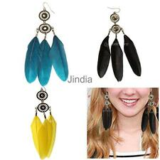 Fashion Feather Dream Catcher Long Dangle Crystal Rhinestone Eardrop Earrings