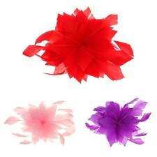 Beauty Flower Feather Brooch Fascinator Corsage Wedding Party Ball Hair Clip