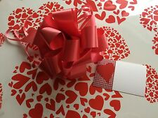 Valentines red hearts Cellophane DIY hamper gift wrap 80cm x 2m FREE bow & card