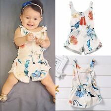 Summer Toddler Kids Baby Girls Floral Halter Romper Sunsuit Play Outfits Clothes