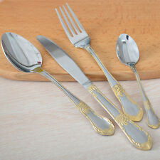 4Pcs Gold Plated Flatware Set Stainless Steel Cutlery Set Knife Spoon Fork Set