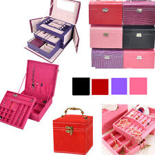 FAUX LEATHER JEWELLERY BOX CASE HOLDER STORAGE ORGANIZER 3 types 4 colors