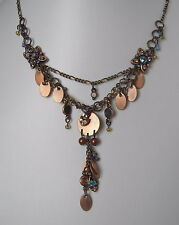 Vintage Style Antique Bronze Copper Jewelled Drop Necklace