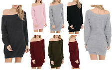 New Womens Ladies Long Sleeve One Shoulder Oversized Knitted Jumper Dress Top