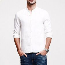3 Colors Mens Casual Linen Shirt Stand Collar Long Sleeve Solid Shirt M to XXXL