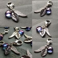 Letter & Wing with Purple Heart Clip On Charm Alphabet Initial Valentine gift