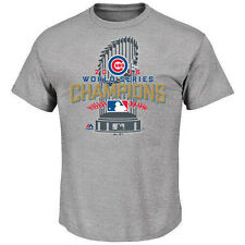CHICAGO CUBS MLB WORLD SERIES CHAMPIONS AUTHENTIC LOCKER ROOM GRAY T-SHIRT NWT