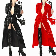 Sexy Womens PVC Leather Lingerie Clubwear Coat Cloak Dress Zipper Night Costume