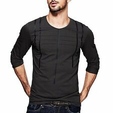 Popular Mens Basic Tee Shirt Round Neck Long Sleeve Simple Fitted T-shirt M~2XL