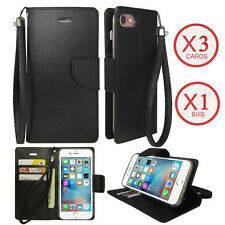 Leather Wallet Case Cover Flip Card Purse with Strap For iPhone / Galaxy / LG