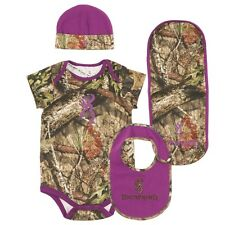 BROWNING BUCKMARK MOSSY OAK COUNTRY CAMO & PURPLE BABY INFANT SET - 4 PIECES