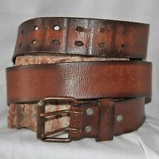 "Abercrombie and Fitch Leather Brown Belt SIZE 34 & 1 5/8"" Wide 2 prong buckle"