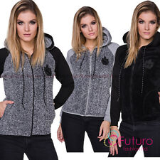 Ladies Casual Warm Cozy Zip Up Hoodie Long Sleeve Fleece Hoody Sweatshirt FZ106