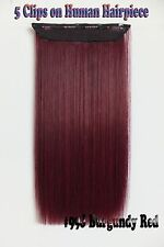 Burgundy Red 150g 5Clips On One Hairpieces Clip In  Real Human Hair Extensions