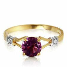 14k Solid Gold Ring with Natural Diamonds and Amethyst