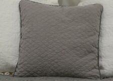 Linen Quilted 18x18 Square Throw Pillow with Satin Piping in FRENCH GREY