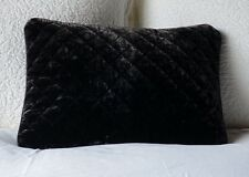 Silk Velvet Quilted Boudoir Throw Pillow with Satin Piping in SABLE