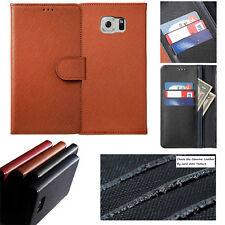 For iPhone 8 7 / Galaxy 8 Genuine Cow Leather Handmade Card Wallet Case Cover