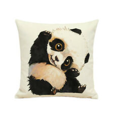 Cute Panda Print Throw Pillow Case Linen Cushion Cover Sofa Bed Décor 45x45cm