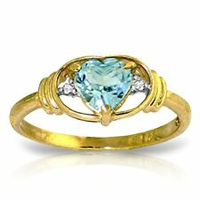 14k Solid Gold Ring with Natural Diamonds and Heart-shaped Blue Topaz