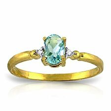 14k Solid Gold Ring with Natural Diamonds and Oval-shaped Blue Topaz