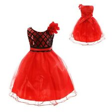 Baby Kids Girls Dress Casual Bow Flower Princess Formal Party Tutu Dresses 2-10Y