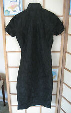 XS-S 1945-50 VTG Qipao Cheong Sam Chinese Dress - SILK Black All over beaded