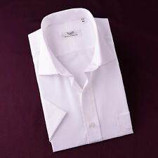 Mens Classic Solid White Short Sleeve Dress Shirt Casual Business w Chest Pocket