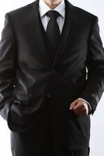 MENS 2 BUTTON SUPERIOR 150S BLACK 3 PCS VESTED DRESS SUIT, SML-60512W-60501-BLK