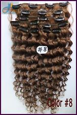 Full Head 8PCS Curly Wavy Weaving Clip In Real Human Hair Extensions Ash Brown