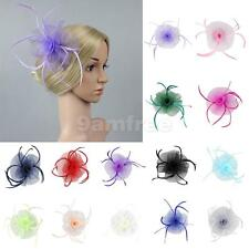 Flower Feather Fascinator Net Hair Clip Wedding Women Prom Tea Party Church Hat