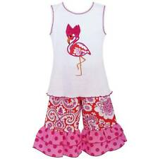 AnnLoren Girls Boutique Hot Pink Flamingo Tunic and Capri Outfit  2/3T or 4/5T
