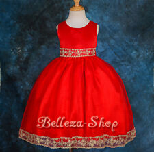 Beaded Embroidery Formal Dress Up Wedding Flower Girl Pageant Size 6m-10 FG051