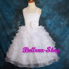 50% OFF Diamante Tiered Organza Dress Wedding Flower Girl Pageant Sz 18M-7 FG200
