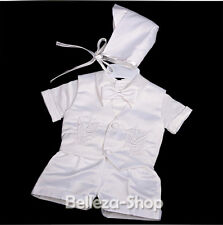 4 Pcs Baby Boy Satin Baptism Christening Short Sleeves Suit Bonnet 0-12m ST019