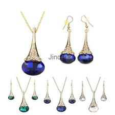 Women Elegant Rhinestone Crystal Pendant Necklace Chain Earrings Jewelry Set