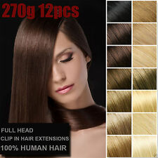 12PCS 270g 40cm~70cm Brazilian Remy Virgin Clip In 100%Real Human Hair Extension
