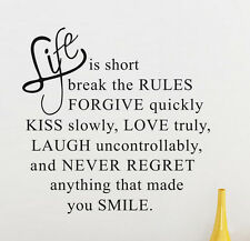 Wall Sticker Removable Art Quote DIY Wall Sticker Decal Mural Home Room Decor