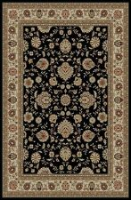 BLACK traditional PERSIAN floral AREA rug RED ivory BORDERED oriental CARPET