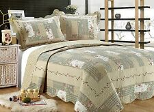 55- All For You 3PC quilt set, bedspread and coverlet-Gray Green-5 Quilt Sizes