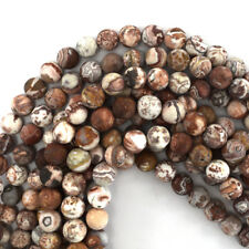 """Matte Mexican Crazy Lace Agate Round Beads Gemstone 15"""" Strand 6mm 8mm 10mm"""