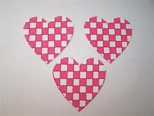 A-33  Checker  Hearts    Fabric Iron On Applique  3 pcs
