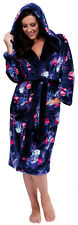 Ladies Fleece Hooded Floral Dressing Gown Robe Polished Navy Blue Knee Length
